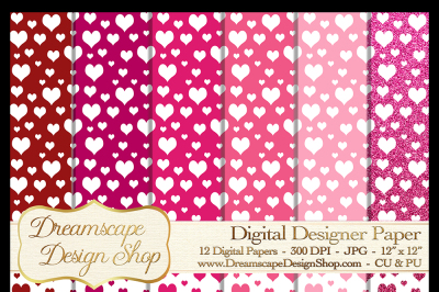 Pink and Red Hearts (Set 4) - Valentine's Day - 12 Digital Papers