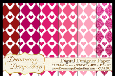 Pink and Red Hearts (Set 5) - Valentine's Day - 12 Digital Papers
