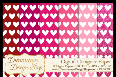 Pink and Red Hearts (Set 3) - Valentine's Day - 12 Digital Papers