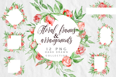Floral frames & arrangements Romantic watercolor peonies flowers