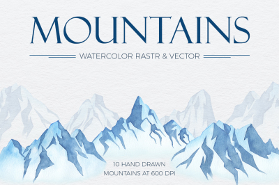 Winter Mountains Watercolor Set