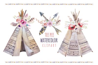 Watercolor boho teepee & bouquets
