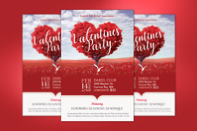 Tree Heart Valentines Party Flyer Template