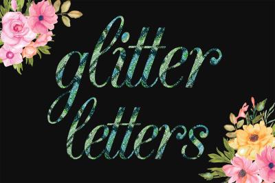 Multi Color Glitter PNG Alphabet