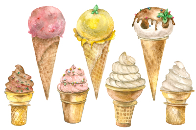 Ice cream watercolor