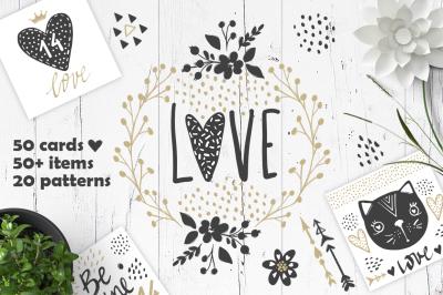 Valentines day.Love, hearts, animals
