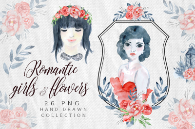 Romantic girls & flowers Love clipart
