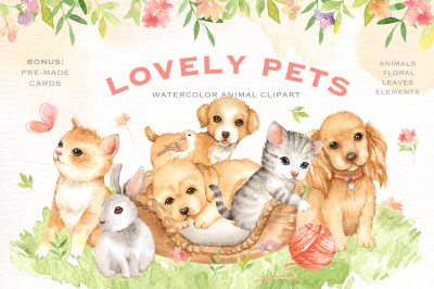 Lovely Pets Watercolor clipart