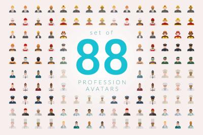 Set of 88 Profession Avatars Flat