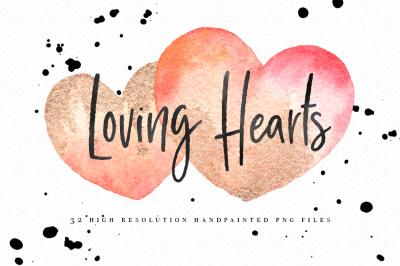 Watercolor Valentine Hearts clipart graphics