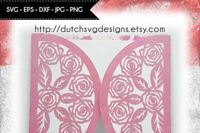 Blank card cutting file with roses, in Jpg Png SVG EPS DXF, cricut svg
