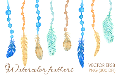 Watercolor feathers tribal vector set