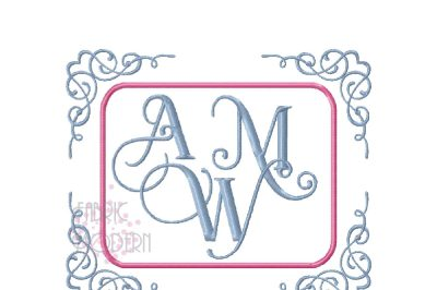 MONOGRAM FRAME APPLIQUE monogram border rectangle vintage delicate  ap