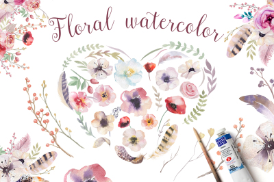 Watercolor boho flowers & feathers. Wedding digital Clip art collection. Individual PNG files. Hand Painted rustic DIY.