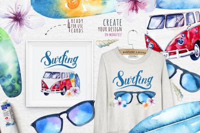 Watercolor surfing