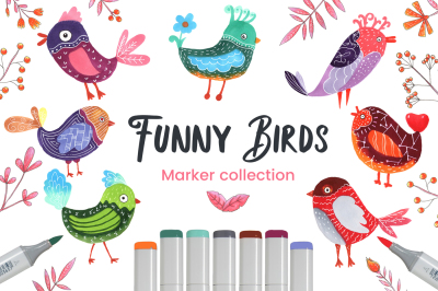 Funny Birds Set Marker Collection