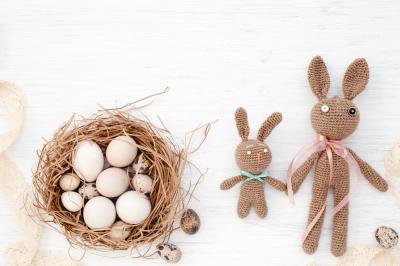 Easter eggs in nest & retro Easter bunnies