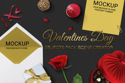 Valentines Day Objects Pack Scene Creator MockUp