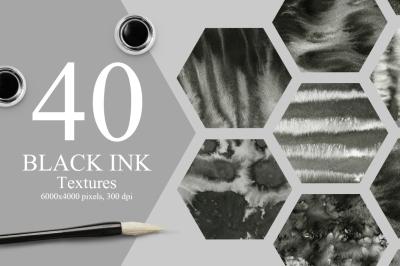 40 Black Ink Textures