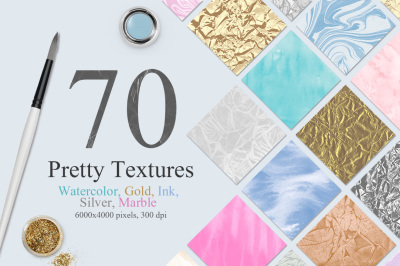 70 Watercolor, Gold, Marble Textures