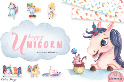 Watercolor Clipart Set - Happy Unicorn