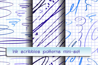 Ink scribbles seamless patterns. Mini-set.