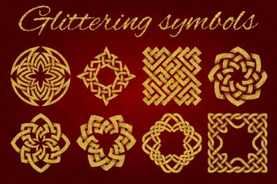Golden glittering symbols pack