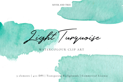 Light Turquoise: Watercolour Clip Art