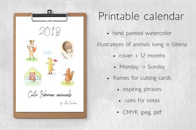 Calendar 2018 Cute Siberian Animals
