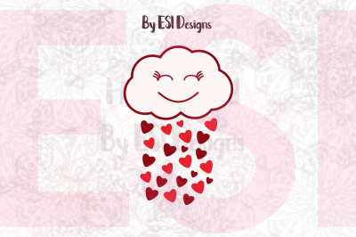 Cloud with Hearts SVG - SVG, DXF, EPS, PNG
