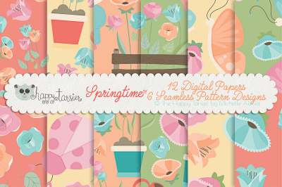 Springtime 01 Seamless Pattern Designs and Digital Papers