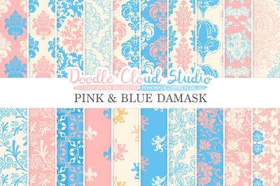 Pink and Blue Damask digital paper, Swirls patterns