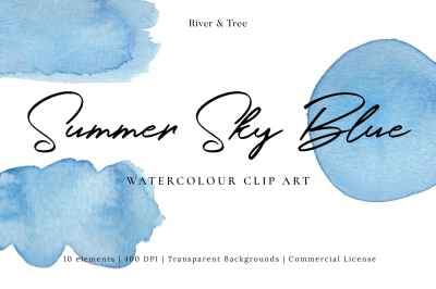 Summer Sky Blue: Watercolour Clip Art