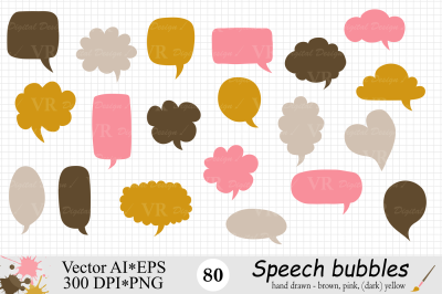 Speech Bubbles Clipart / Chat Bubbles / Brown, Pink, Yellow - Vector