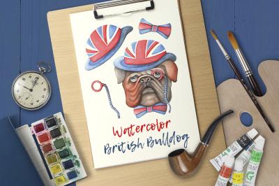 Watercolor British Bulldog