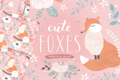 Cute foxes patterns and clipart