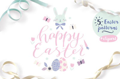 Easter patterns, clip art and lettering