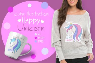 Happy Unicorn. Cute illustration.