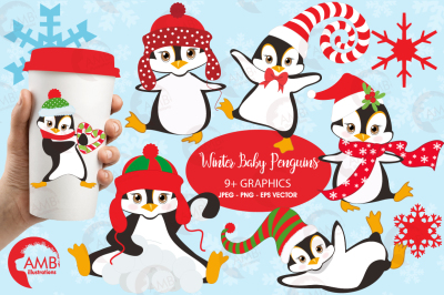 Winter Penguins clipart, graphics, illustrations AMB-307