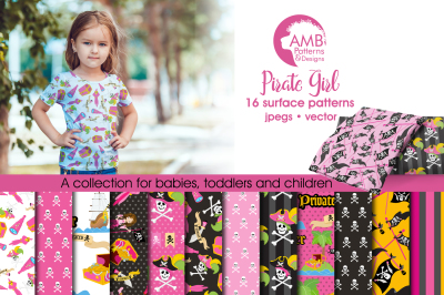 Pirate Girl patterns and papers AMB-1108