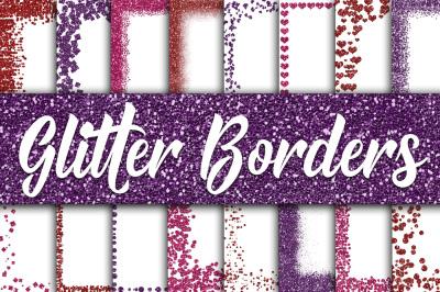 Valentine Glitter Borders Digital Paper