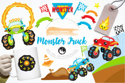 Monster truck graphics and illustrations