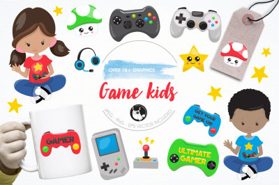 Game kids graphics and illustrations
