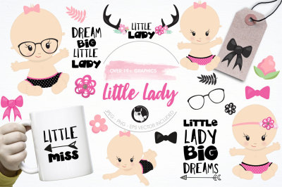 Little lady graphics and illustrations