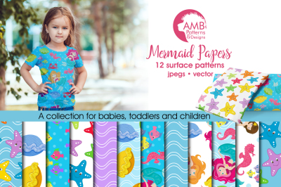 Mermaid pattern, papers, surface design AMB-1191