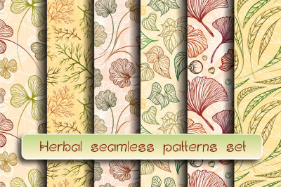 Herbal seamless patterns set