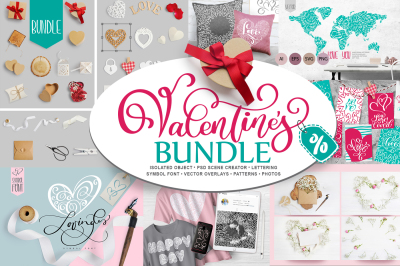 Valentine Bundle: mockup creator scene, valentines vector, pattern