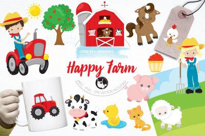 Happy farm graphics and illustrations