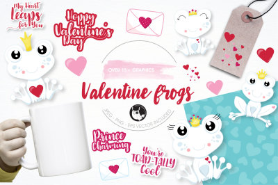 Valentine frogs graphics and illustrations