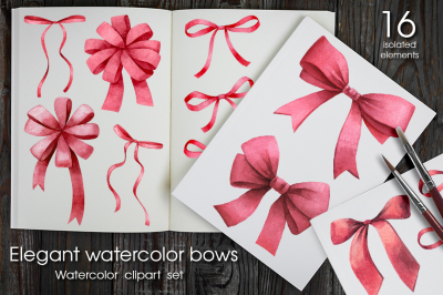 Elegant watercolor bows set